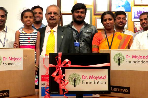 Dr. Majeed Foundation donates computers to assist educational needs of Government Higher Primary School, Bhavikere, Nelamangala Taluk, Bangalore Rural Dist